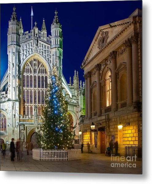 Bath Abbey At Night At Christmas Metal Print