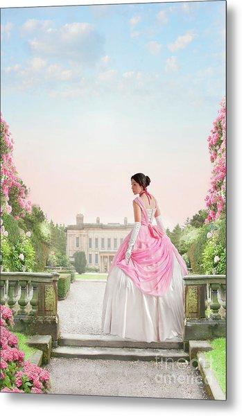 Beautiful Victorian Woman In The Garden Metal Print
