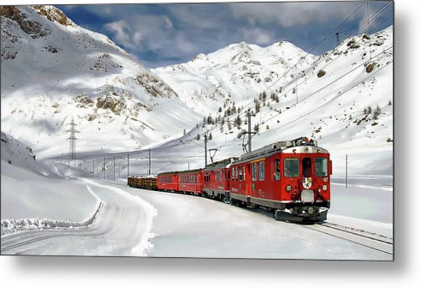 Bernina Winter Express Metal Print