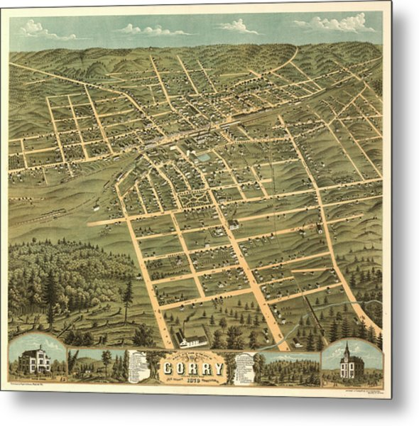 Bird's Eye View Of The City Of Corry, Erie County, Pennsylvania 1870 Metal Print