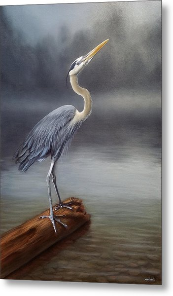 Metal Print featuring the painting Blue Heron by Linda Merchant