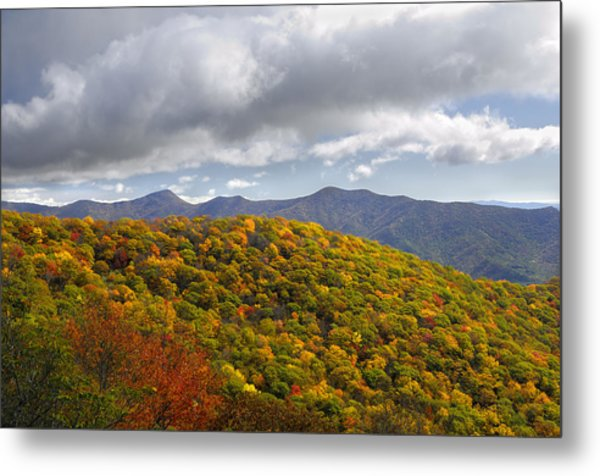 Blue Ridge Mountains In Autumn Color Metal Print by Darrell Young