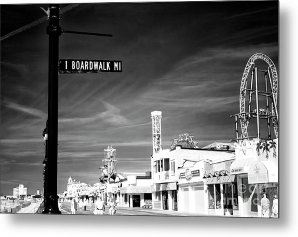 1 Boardwalk Mile At Ocean City Infrared Metal Print by John Rizzuto