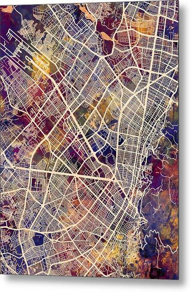 Bogota Colombia City Map Metal Print