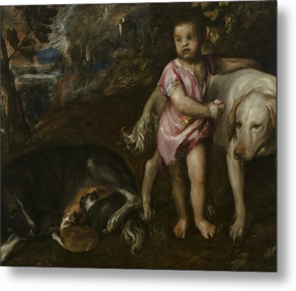 Boy With Dogs In A Landscape Metal Print