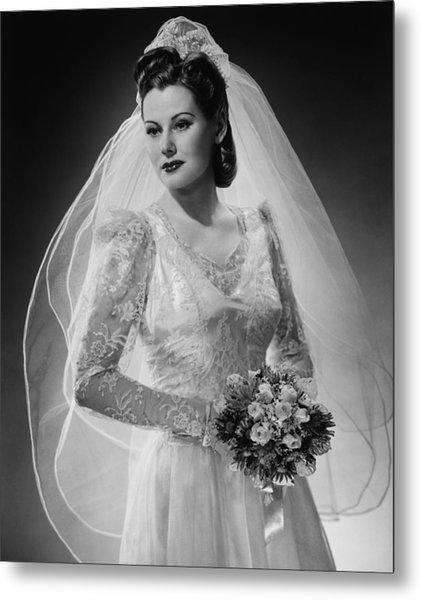 Bride Posing In Studio, (b&w), Portrait Metal Print by George Marks