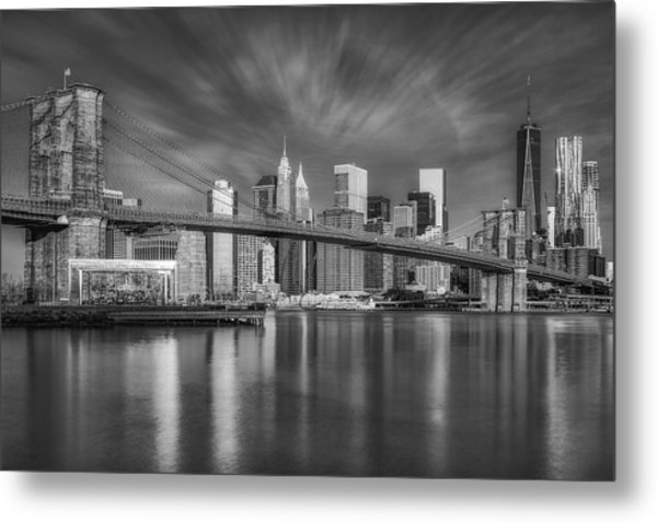 Metal Print featuring the photograph Brooklyn Bridge From Dumbo by Susan Candelario