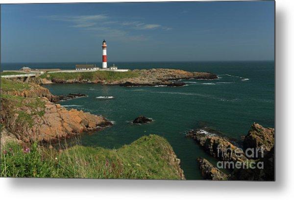 Buchan Ness Lighthouse And The North Sea Metal Print