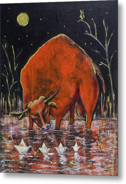 Bull And Paper Boats Metal Print