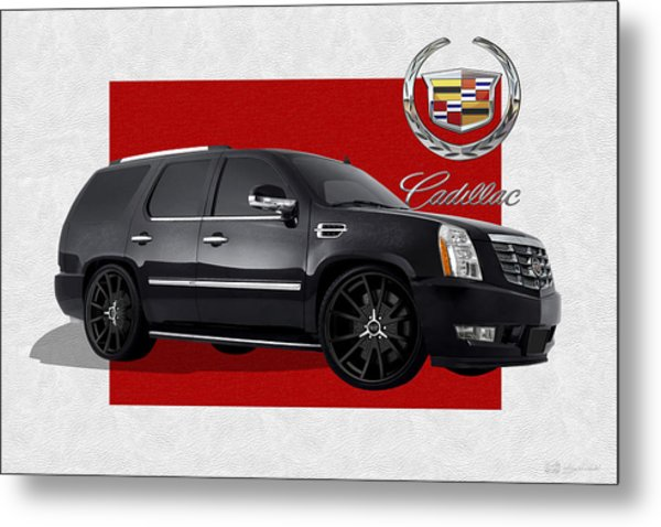 Cadillac Escalade With 3 D Badge  Metal Print
