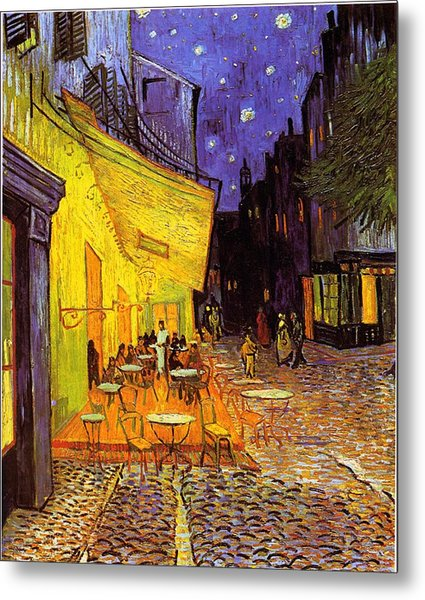 Metal Print featuring the painting Cafe Terrace At Night by Van Gogh