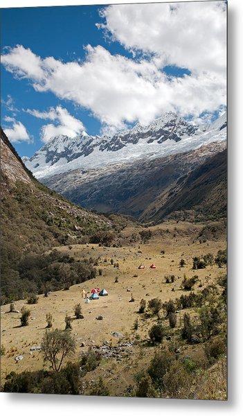 Camping In Huaripampa Valley Metal Print