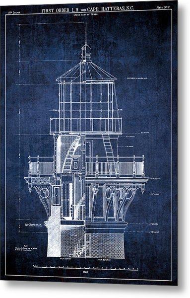 Cape Hatteras Lighthouse Blueprint  1869 Metal Print
