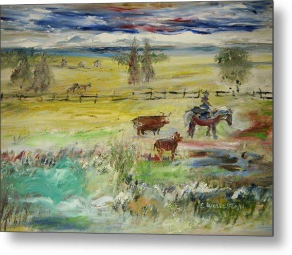 Cattle Drive Metal Print by Edward Wolverton