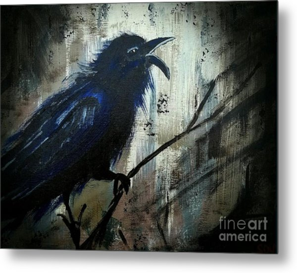 Cawing The Storm Metal Print