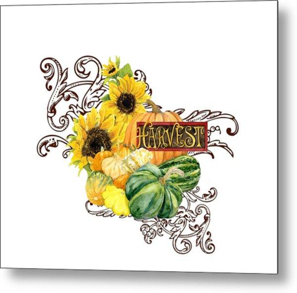 Celebrate Abundance - Harvest Fall Pumpkins Squash N Sunflowers Metal Print
