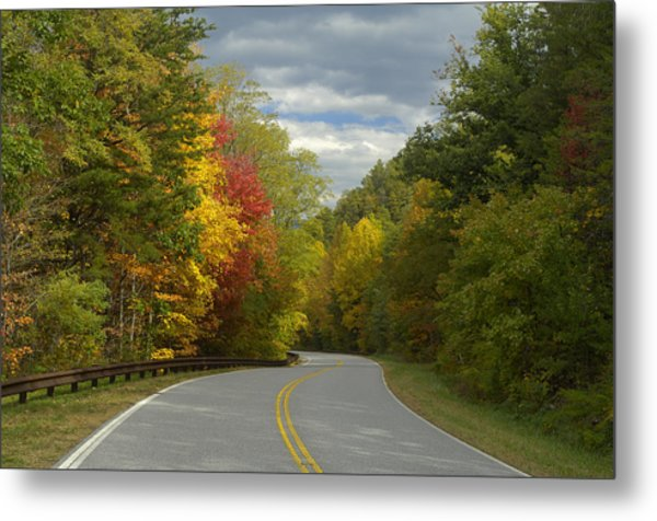Cherohala Skyway In Autumn Color Metal Print by Darrell Young
