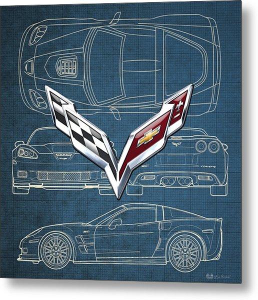 Chevrolet Corvette 3 D Badge Over Corvette C 6 Z R 1 Blueprint Metal Print