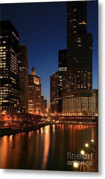 Chicago River Reflections Metal Print