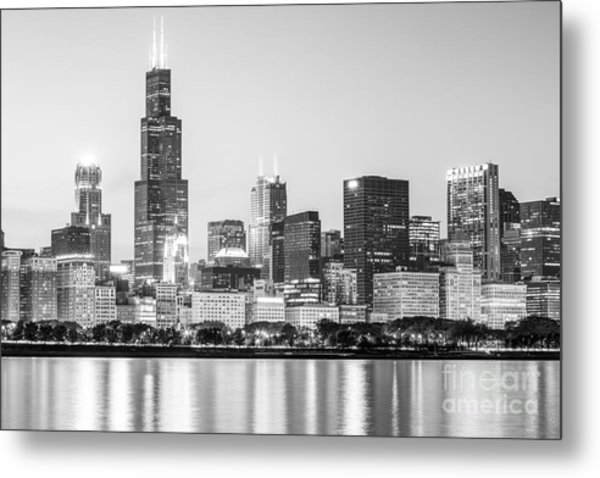 Chicago Skyline Black And White Photo Metal Print by Paul Velgos