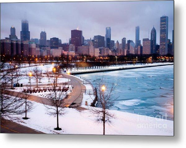 Chicago Skyline In Winter Metal Print