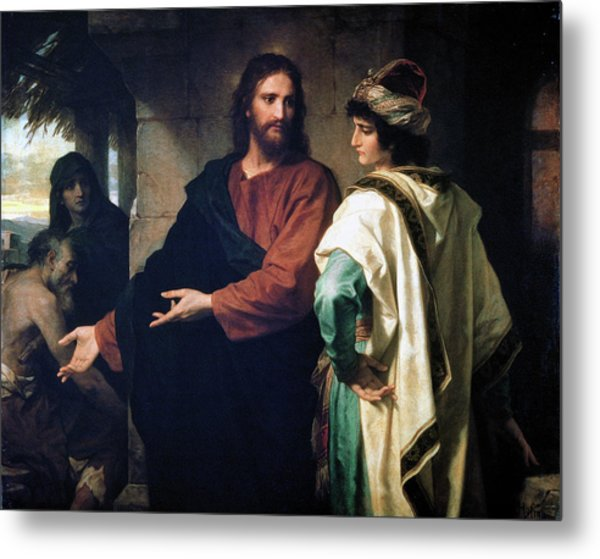 Christ And The Rich Young Ruler Metal Print