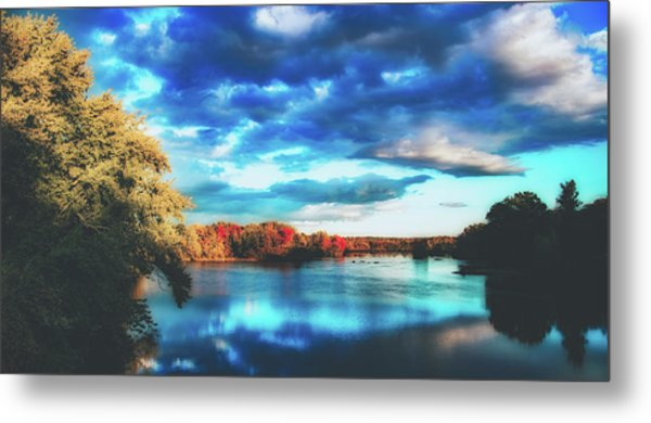 Cloudy Skies Over The Stillwater River Metal Print