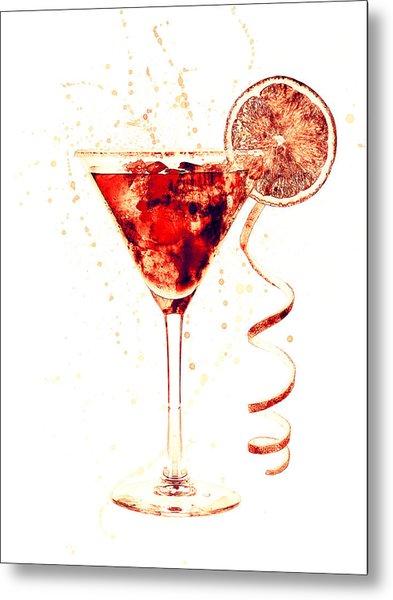 Cocktail Drinks Glass Watercolor Metal Print