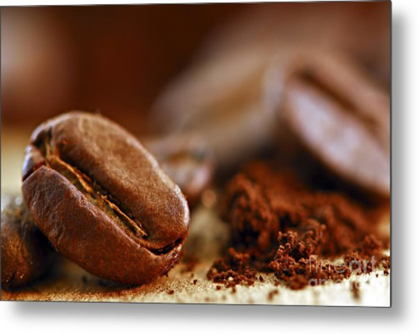 Coffee Beans And Ground Coffee Metal Print