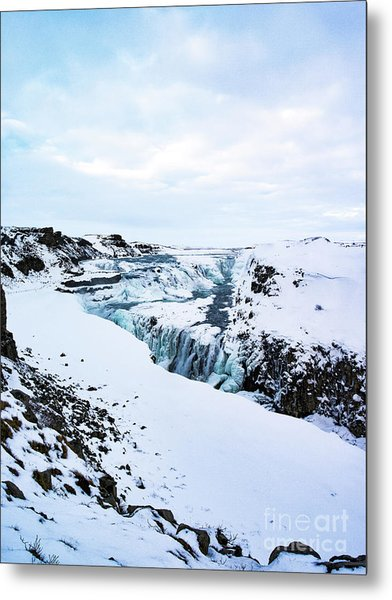 Cold Winter Day At Gullfoss, Iceland Metal Print