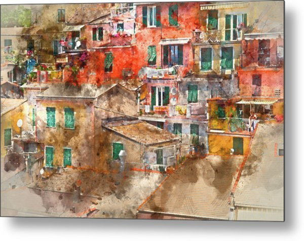 Colorful Homes In Cinque Terre Italy Metal Print