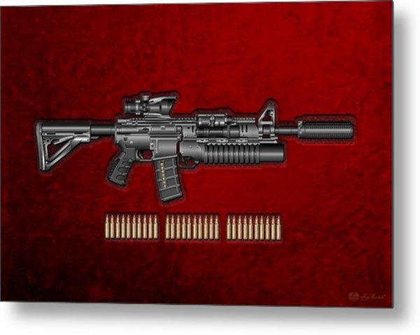 Colt  M 4 A 1  S O P M O D Carbine With 5.56 N A T O Rounds On Red Velvet  Metal Print
