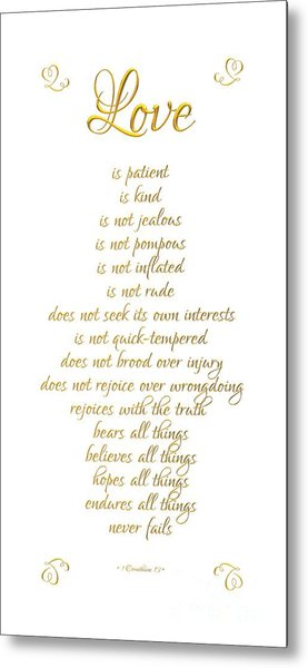 Metal Print featuring the digital art 1 Corinthians 13 Love Is White Background by Rose Santuci-Sofranko