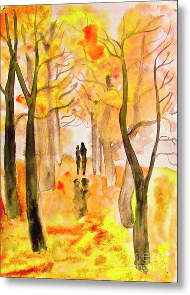Couple On Autumn Alley, Painting Metal Print