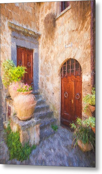 Courtyard Of Tuscany Metal Print