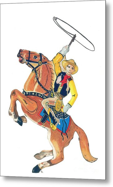 Cowboy With Lasso Metal Print