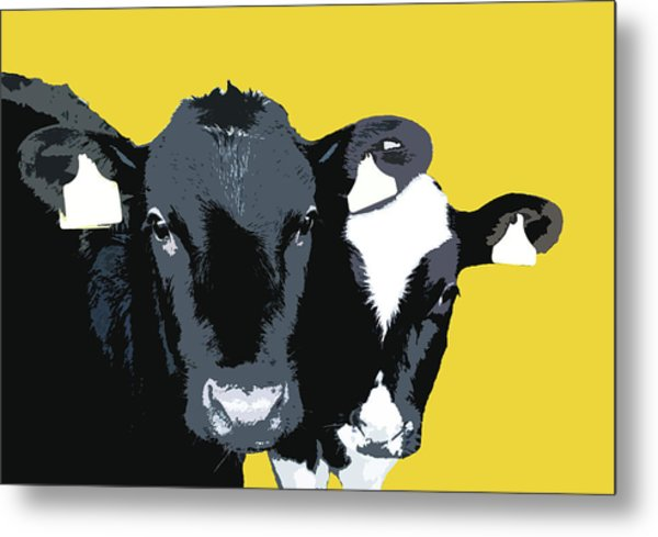 Cows - Yellow Metal Print