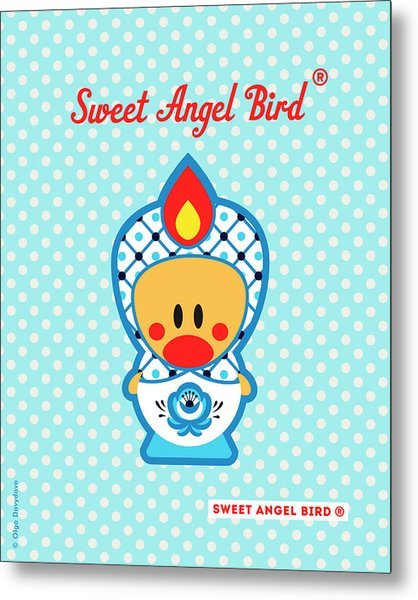 Cute Art - Blue Polka Dot Folk Art Sweet Angel Bird In A Nesting Doll Costume Wall Art Metal Print