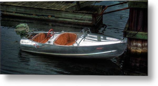 Cute Boat - 1948 Feather Craft Metal Print