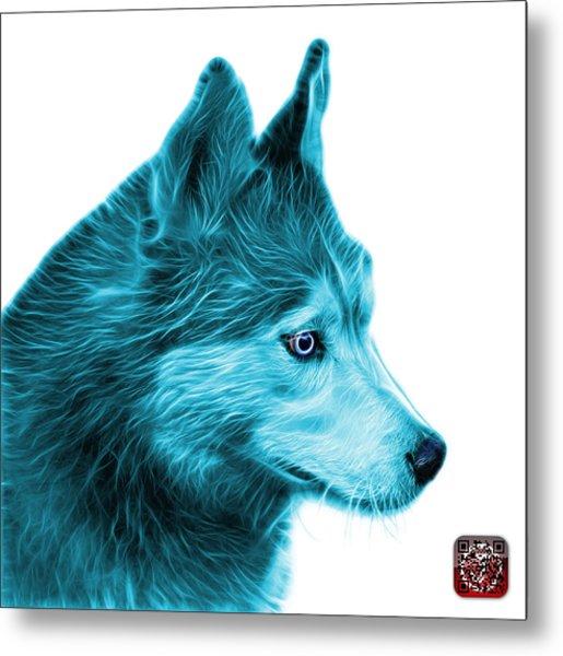 Metal Print featuring the painting Cyan Siberian Husky Art - 6048 - Wb by James Ahn