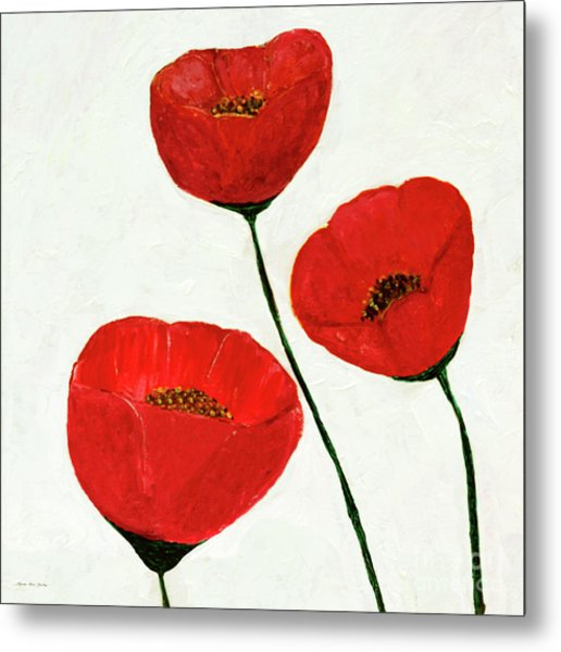 Metal Print featuring the painting Decorative Poppies Acrylic Painting C62017 by Mas Art Studio
