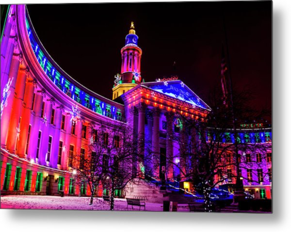 Denver City And County Building Holiday Lights Metal Print