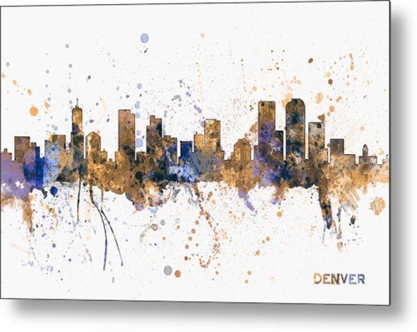Denver Colorado Skyline Cityscape Metal Print
