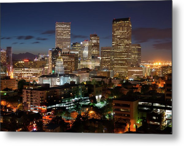 Denver Evening Skyline Metal Print by Steve Mohlenkamp