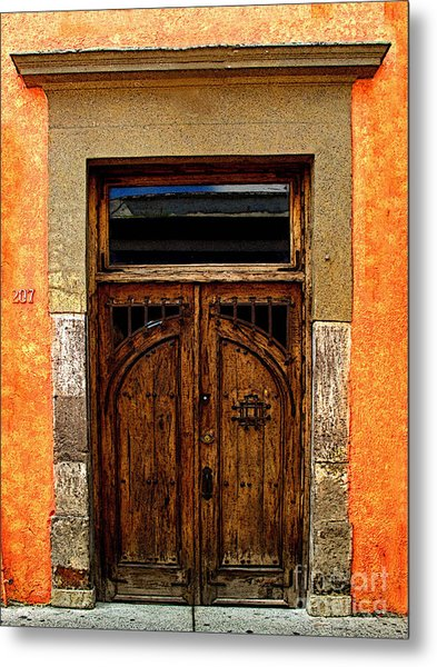 Door In Terracotta Metal Print by Mexicolors Art Photography