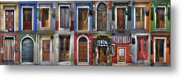 doors and windows of Burano - Venice Metal Print