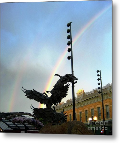 Double Rainbow Over Old Town Square Metal Print
