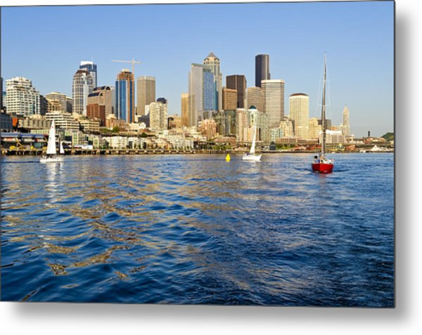 Downtown Seattle Sailing Metal Print by Tom Dowd