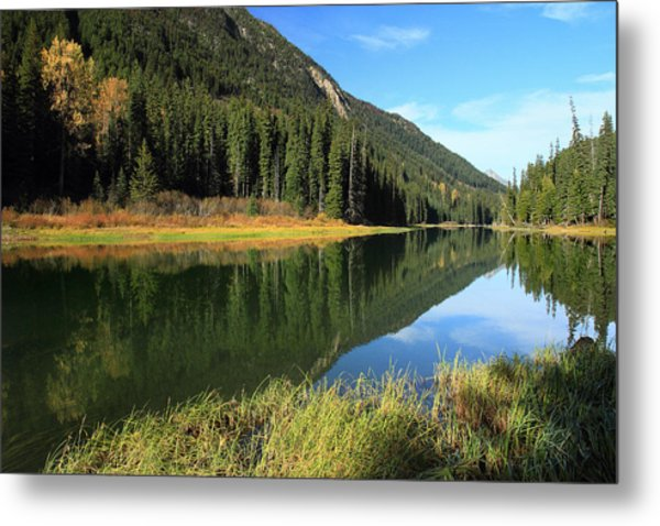 Duffey Lake Reflection In Autumn Metal Print by Pierre Leclerc Photography
