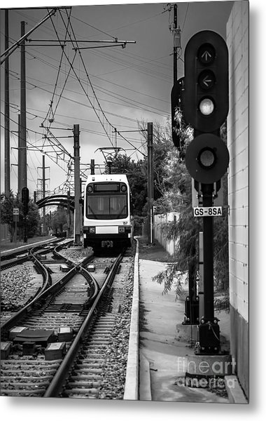 Electric Commuter Train In Bw Metal Print